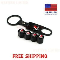 For TRD TOYOTA Black Car Wheel Tire Tyre Valve Dust Stems Air Caps With Keychain