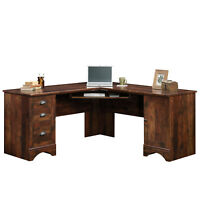 Computer Desk Home Office Furniture View Corner L Shaped Storage Drawers Wood