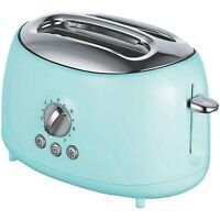 Brentwood Appliances Cool-Touch 2-Slice Retro Toaster w/Extra-Wide Slots, Blue