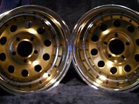 NOS PAIR OF CRAGAR GOLD QUICK TRICK  WHEELS #74716 14X7 Vari-Fit Deep Dish
