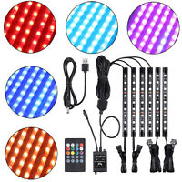 6X Motorcycle LED Lights Wireless Remote 8 color Neon Glow Strips Neon Lamp Kit