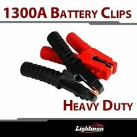Pair 1300A Battery Charger Clamps Jumper Cable Jump Starter Booster Heavy Duty