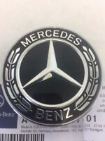 FIT FOR Mercedes Benz Star Flat Hood Bonnet Logo Emblem Badge High Gloss Black