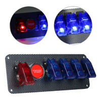 Racing Car Ignition Switch + Blue&Red Engine Start Push LED Toggle Button Panel