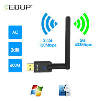 600M USB Dual Band 5GHz WiFi Wireless Adapter Dongle Card Antenna For Desktop PC