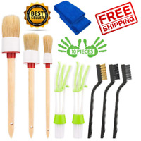 Detailing Brush Set 10 Pc Car Cleaning Kit for Weels Interior Exterior Leather