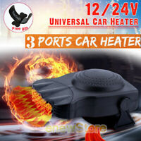 Upgrade 3Port 2in1 12V Portable Car Heater Cooling Fan Heater Defroster Demister