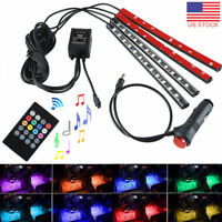 4x 12 LED 16 Color RGB Strips Sound Activated Car Interior Music Lights + Remote
