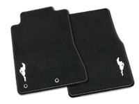 Genuine Ford Mustang Floor Mats - Carpeted, Black, 2-Piece Set, w/Silver Pony