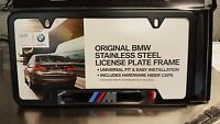 BMW  M LOGO LICENSE PLATE FRAME - BLACK STAINLESS STEEL  # 82120010404 - 1 plate
