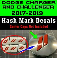 Fits Dodge Charger and Challenger Hash Center Cap Overlay Decals 2017 2018 2019
