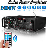 2000W 2Channel EQ Bluetooth Home Stereo Power Amplifier Audio USB  AMP FM 110V