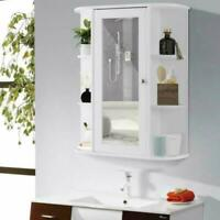 NEW Bathroom Wall Mounted Storage Cabinet Shelf Organizer With Mirror Door White