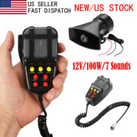 100W 7 Sound Car Alarm Siren Horn Police Fire PA Loud Speaker MIC System Kit USA