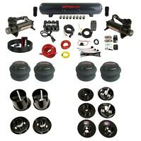 Complete Bolt On Air Ride Suspension Kit w/Manifold & 480 Blk For 65-70 Cadillac