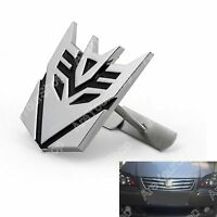 3D Car Transformers Decepticon Front Grille Grill Badge Emblem Decals Chrome E1