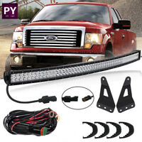54inch Curved LED Work Light Bar+ Windshield Mount Brackets+Wiring For Ford F150
