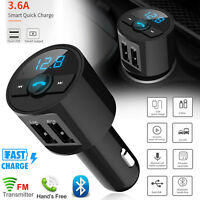 Bluetooth Wireless Car AUX Stereo Audio Receiver FM Adapter USB Charger A2DP