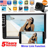 7 Inch Double Din Bluetooth Car Stereo With Backup Camera Audio MP5 Touch Screen