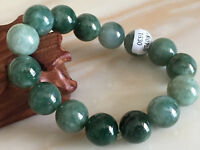 14mmcertified 100% Natural   Oil Green A Jade Jadeite Beads Bangle Bracelet1630