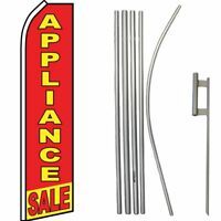 Appliance Sale Red / Yellow Swooper Flag & 16ft Flagpole Kit /Ground Spike