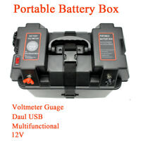 Portable Battery Box Voltmeter USB Charger with Power Accessories for Car Marine