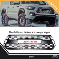 Matte Black Front Upper Grille Grill Bumper For 2016-2018 Toyota Tacoma TRD PRO