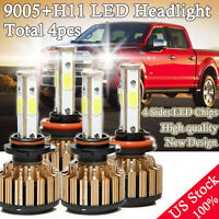 Combo Pack LED Headlight Hi Beam 9005+Low Beam H11 for 2015 2016 2017 Ford F-150