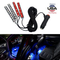New 4x Ice Blue 9LED Charger Interior Light Accessories Car SUV Floor Decor Set