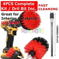 Power Scrubber Drill Brush Set Cleaner Spin Tub Shower Tile Grout Wall 3 New