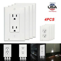 4x Wall Outlet Cover Plate 2 Plug With LED Night Lights Hallway Bedroom Bathroom