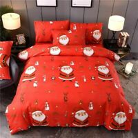 Christmas Bedroom Supplies Bed Cover And Pillowcase Set Cotton Santa Claus Print