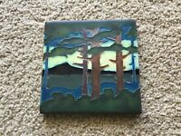 "Arts and Crafts Motawi 5 3/4"" X 5 3/4"" Pine Tree Landscape Tile (Valley)"