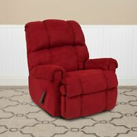 Contemporary Red Microfiber Rocker Recliner For Home Living Bed Room Furniture