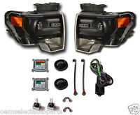 NEW OEM 2009-2013 Ford F-150 BLACK HID Headlights - PAIR - Retrofit Kit, Harley