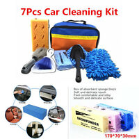 7Pcs Car Cleaning Tools Car Wash Kit Interior Exterior Cleaning Sponge Brush