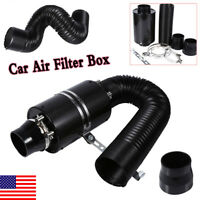 Universal Car 3inch Cold Air Filter Feed Enclosed Intake Induction Pipe Hose USA