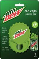 Mtn Dew Can Caps - Lid Fits Beer & Soda Pop Cans - 2 PACK Beverage Top Covers