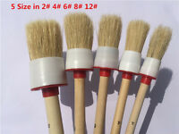 5 Pcs Different Size Car Cleaning Brush Bristle Wooden Handle For Car Care Tool