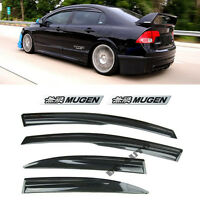 For 06-11 Honda Civic JDM SI Window Rain Visor MUGEN Style + EMBLEMs Sedan 4Dr