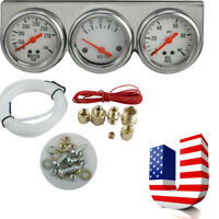 Universal Use 50mm Chrome Oil Pressure Water Volt Triple 3 Gauge Set Gauges Kit