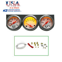 Universal Chrome Oil Pressure Water Volt Triple 3 Gauge Set Car Gauges Kit FDA