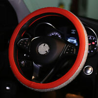 New Red Crystal Car Steering Wheel Cover Leather Rhinestone Accessories Women