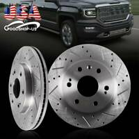 Front Kit Drilled Slotted Brake Rotors Ceramic Pads For 2WD 4WD 4X4 Chevy GMC
