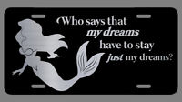 The Little Mermaid Laser Etched Metal License Plate Ariel Gifts Fairy Princess