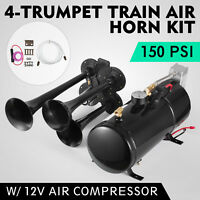 4-Trumpet 150 psi Air System 150dB+ Metal 12V Train Air Horn Kit for car truck