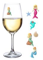 Mermaid Magnetic Wine Charms and Glass Markers Set of 6 - Great Mermaid Gift for