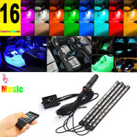 4 X 12LED Car Interior Atmosphere Neon Lights Strip Music Control + IR Remote
