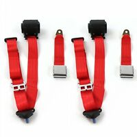 AMC 1958 - 1988  Airplane 3pt Red Retractable Bucket Seat Belt Kit - 2 Belts rat