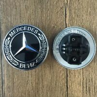 Mercedes Benz Hood Black Flat Laurel Wreath Front Badge Car Logo Emblem 57mm